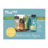 Fluid-100-Watercolor-Paper-812218-140LB-Hot-Press-9-x-12-Block-15-Sheet